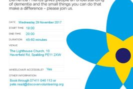 Join us to find out how to become a Dementia Friend in Spalding